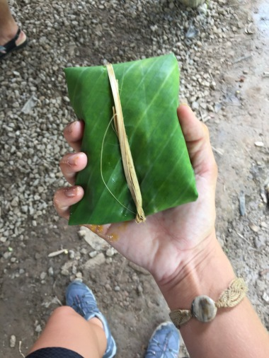 Wrapped the medicine in a banana leaf