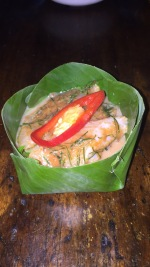 Fish soufflé in a banana leaf bowl we made